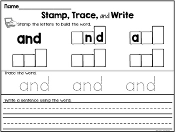 Dolch Sight Words Stamping (Pre-Primer List)