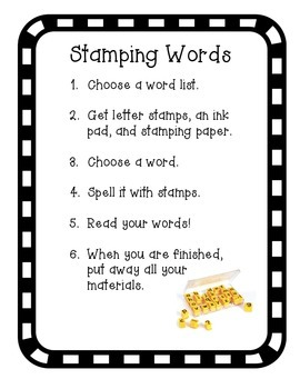 Stamping Words Directions