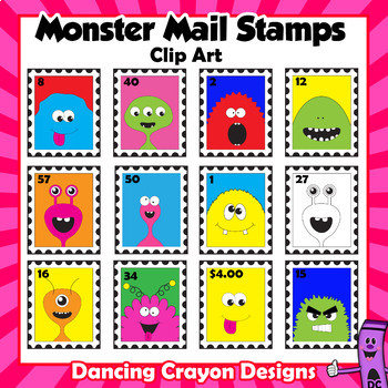 Stamps:  Monster Mail Stamp Clip Art Bundle