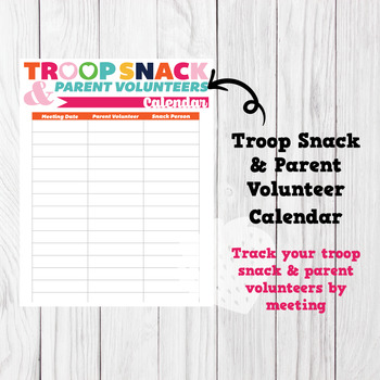 Stand-Alone Troop Snack & Parent Volunteer List Sign-up Girl Scouts Inspired
