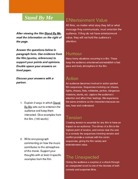 Stand By Me Film Study worksheets and study viewing questions