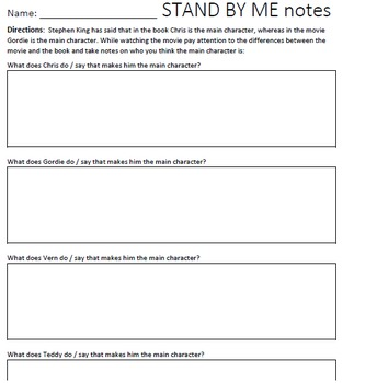 Stand By Me Movie Worksheets