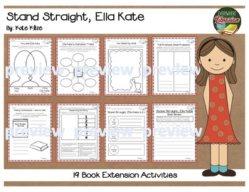 Stand Straight, Ella Kate by Klise Literacy Pack 15 Activities No Prep