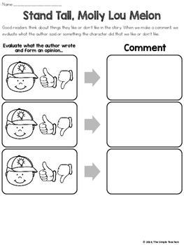Stand Tall, Molly Lou Melon - Evaluate and Comment Comprehension Lesson Plan