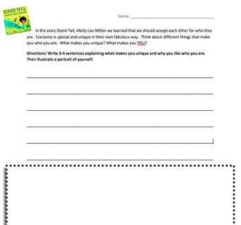 Stand Tall Molly Lou Melon-Reading Response Activity
