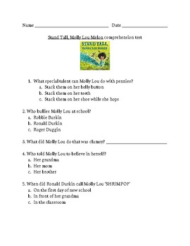 Stand Tall, Molly Lou Melon comprehension test 2nd grade