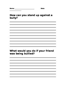 Stand Up Against Bullying Student Response
