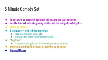 Stand Up Comedy 5 Minute Set PPT & Exercises