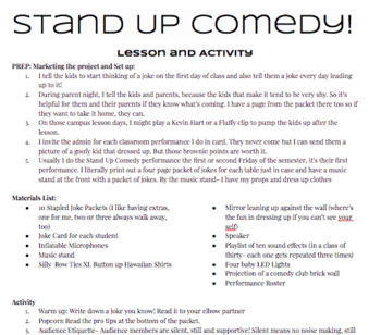 Stand Up Comedy Lesson and Activity