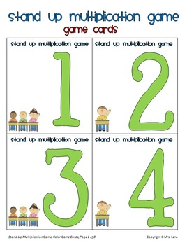 Stand Up Multiplication Game