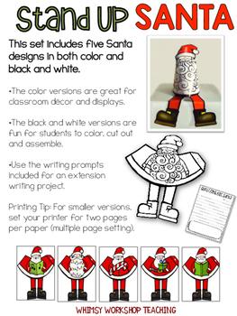 Stand-Up Santas Craft and Writing Activity