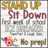Stand Up Sit Down - A First Week of School Ice Breaker Activity! NO PREP!