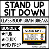 Stand Up Sit Down Brain Break Bundle     Distance Learning