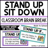 Stand Up Sit Down Brain Break {Second Week of School}