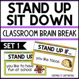Stand Up Sit Down Brain Break {Set 1}