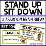 Stand Up Sit Down Brain Break {Set 10}