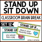 Stand Up Sit Down Brain Break {Set 12}
