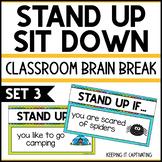 Stand Up Sit Down Brain Break {Set 3}