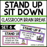 Stand Up Sit Down Brain Break {Set 6}