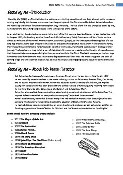 Stand by Me Film- Teacher Text Guides and Worksheets