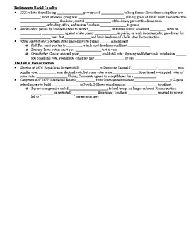 Standard 10 Fill in the Blank Notes (Reconstruction)