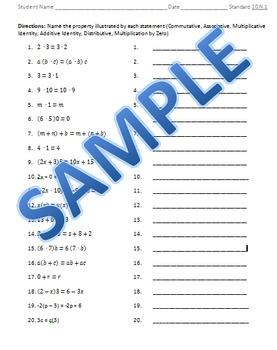 Standard 10.N.1 practice worksheets (Algebra I)
