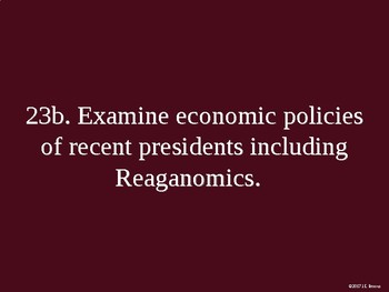 Standard 23 (The Modern Era, Reagan, Bush, Clinton, Bush, Obama)
