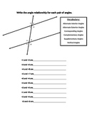 Angles formed by parallel lines cut by a transversal vocabulary worksheet