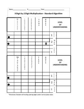 Standard Algorithm- 3 by 2 multiplication