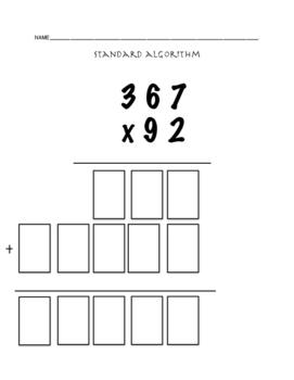 Standard Algorithm Multi Digit Multiplication - Quick Chec
