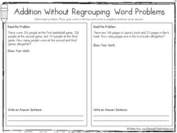 Standard Algorithm Three-Digit Addition Without Regrouping {A Skills Pack}