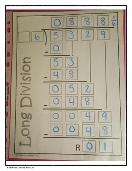 Standard Algorithm for Long Division Organizers