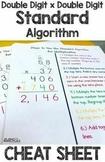 Standard Algorithm of Double Digit x Double Digit Multiplication Cheat Sheet