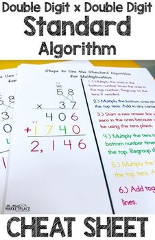 Standard Algorithm of Double Digit x Double Digit Multiplication Cheat Sheet