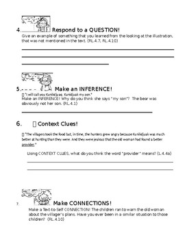 Standard Aligned Comprehension Check for The Polar Bear Son