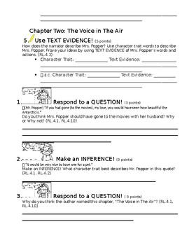 Standard Aligned Reading Comprehension for Mr. Popper's Penguins