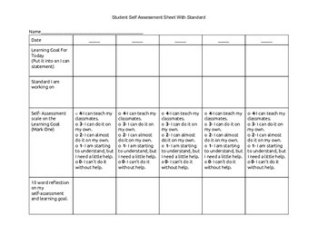 Standard Based Student Scale