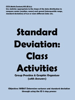Standard Deviation Classroom Activities with Graphic Organizer
