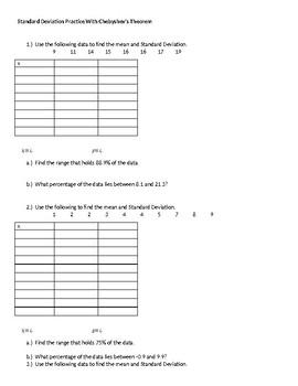 Standard Deviation Practice With Chebyshev