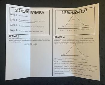Standard Deviation & The Empirical Rule (Foldable)