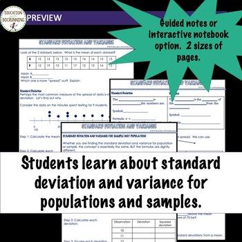 Standard Deviation Variance Notes AP Statistics