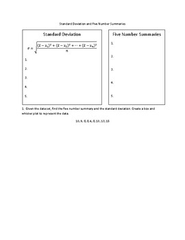 Standard Deviation and Five Number Summary Notes