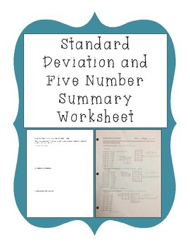 Standard Deviation and Five Number Summary Worksheet