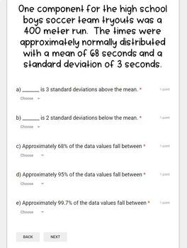 Standard Deviation & the Empirical Rule- for use with Google Forms