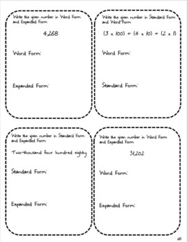 Standard, Expanded, Word Form of Whole Numbers Differentiated Interactive Notes