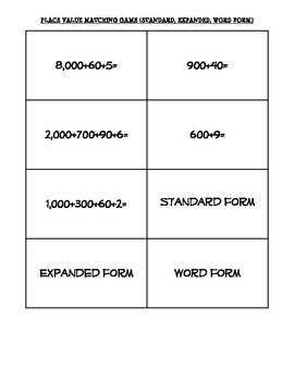 Standard, Expanded, and Word Form Matching Game