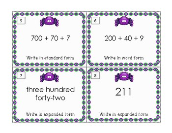 Standard, Expanded and Word Form Numbers Task Cards