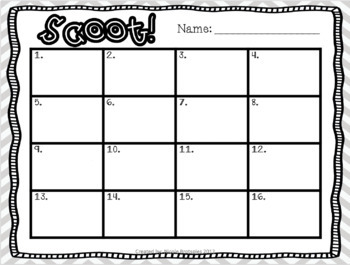 Standard, Expanded, and Word Form SCOOT! Game, Task Cards or Assessment