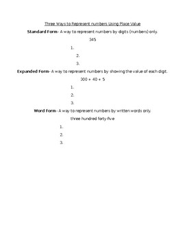 Standard, Expanded and Word form notes