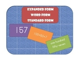 Standard Form, Expanded Form, and Word Form Practice - Match Game